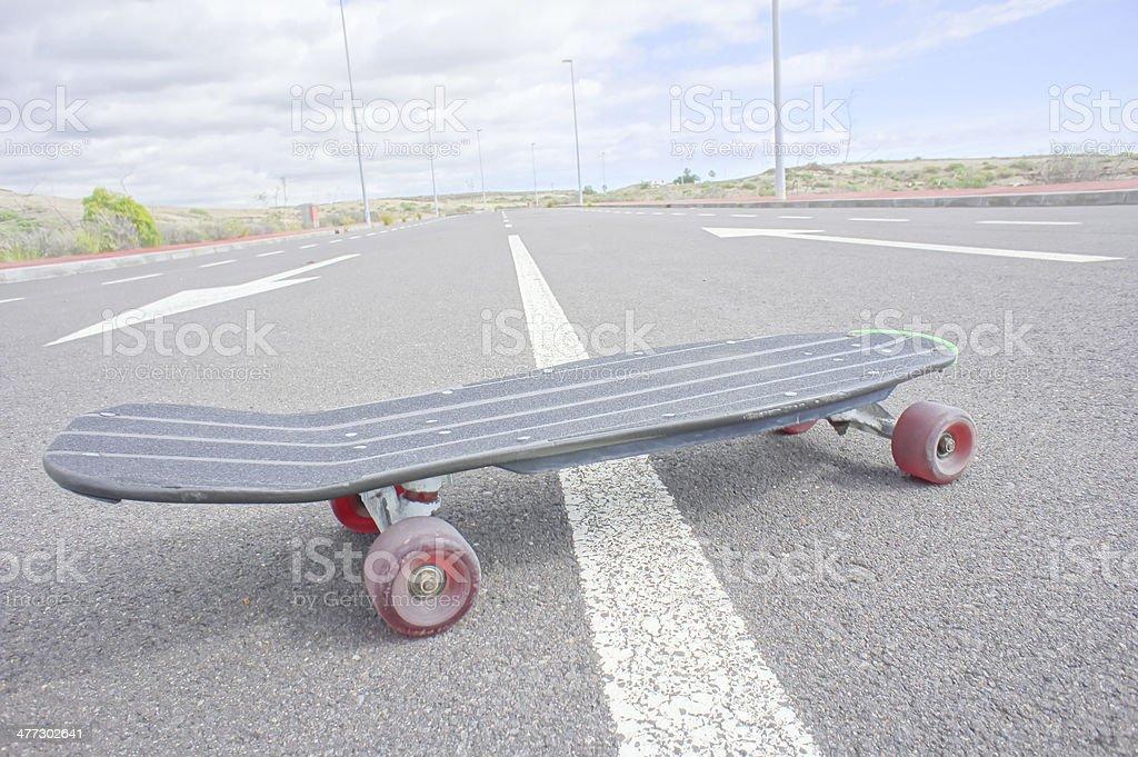 Vintage Style Longboard Black Skateboard royalty-free stock photo
