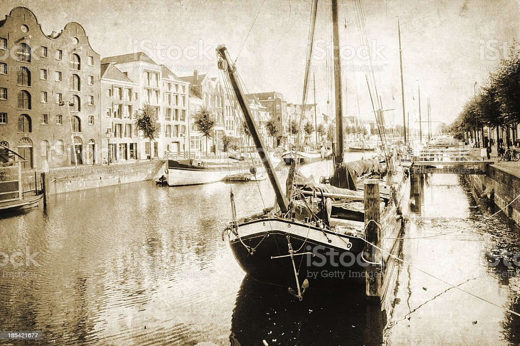 vintage style picture of Delfshaven royalty-free stock photo