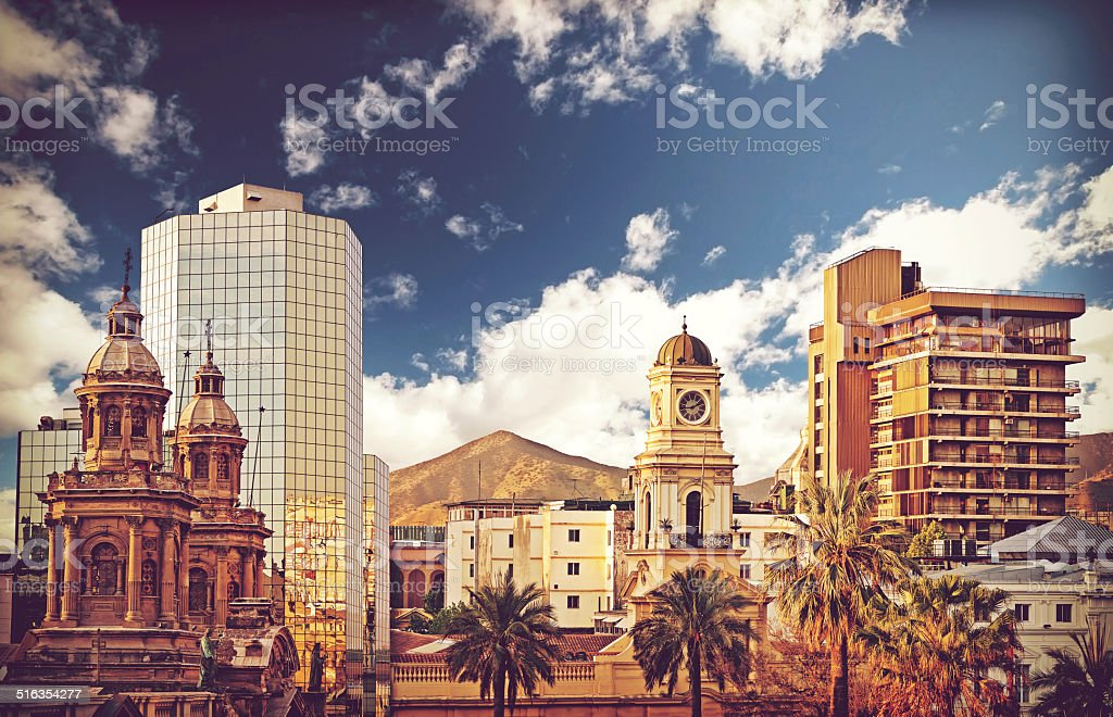 Vintage style picture of Santiago de Chile downtown, Chile. stock photo