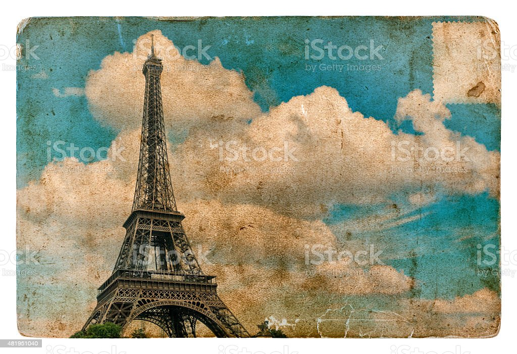 Vintage style postcard from Paris with Eiffel Tower. Grunge texture stock photo