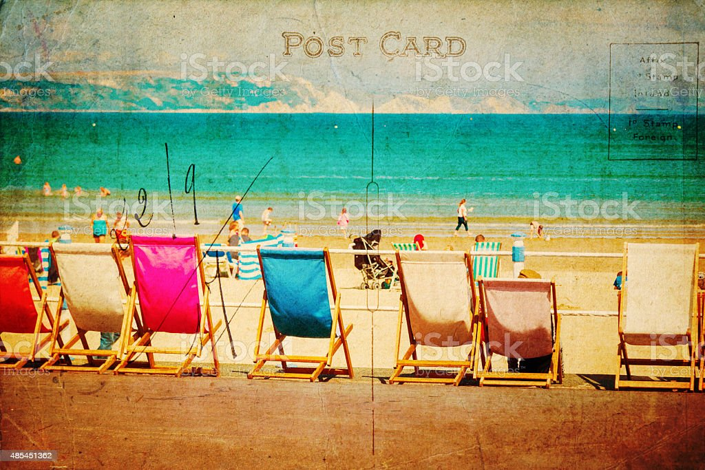 vintage style postcard with beach scene stock photo