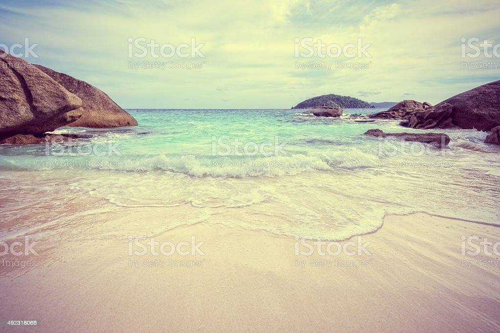 Vintage style sea and beach in Thailand stock photo