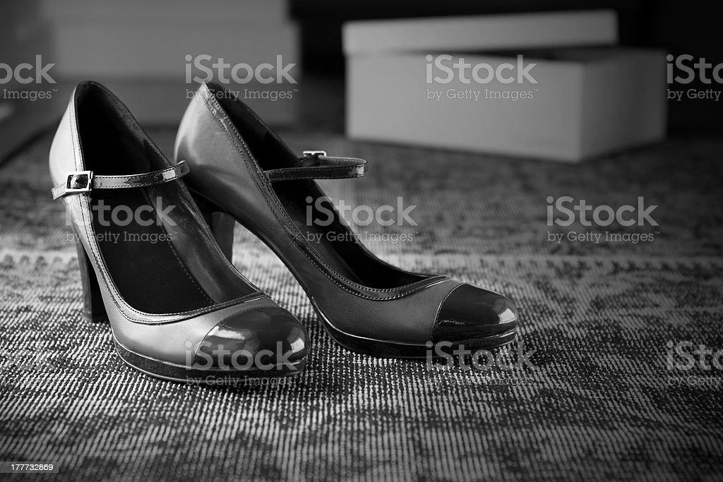 Vintage style shoes moody black white stock photo