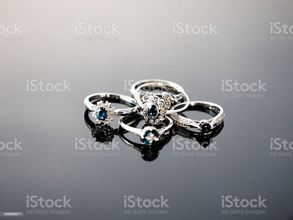 Vintage style silver rings with gems royalty-free stock photo