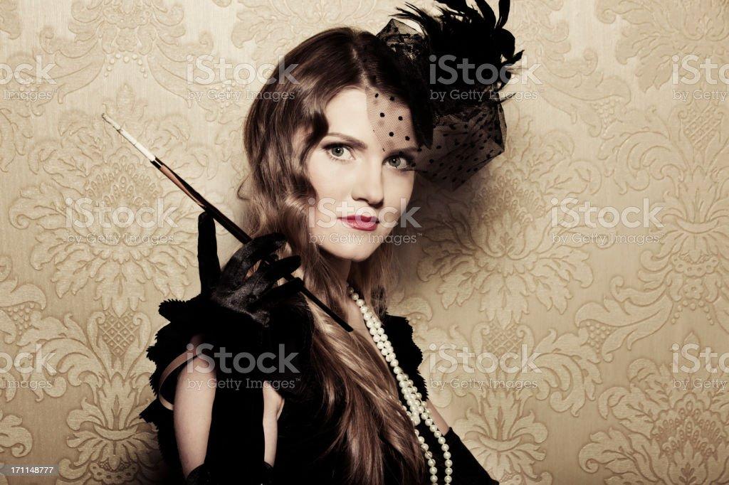 Vintage style smoking women royalty-free stock photo