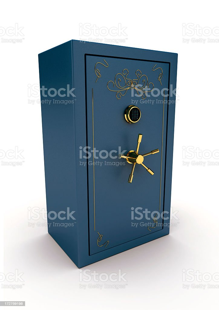 Vintage style steel blue safe with gold handle stock photo