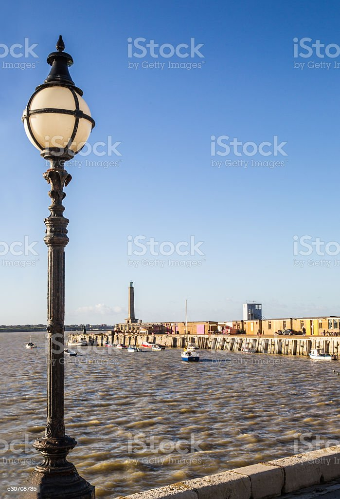 Vintage style street light on Margate harbour wall stock photo