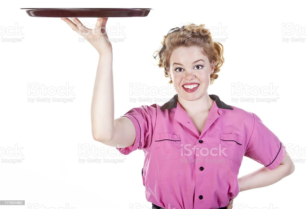 Vintage Style Waitress or Server stock photo