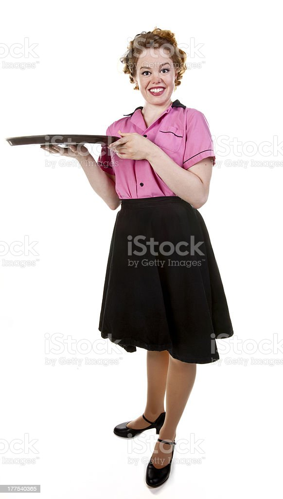 Vintage Style Waitress or Server With Serving Tray royalty-free stock photo