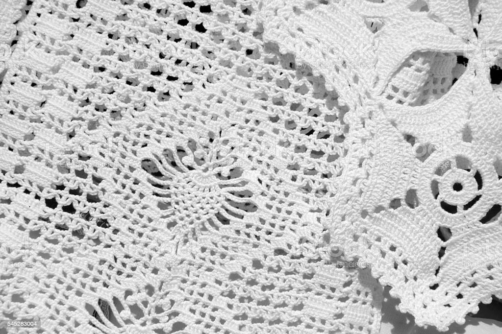 Vintage style white embroidery, crochet labour. stock photo