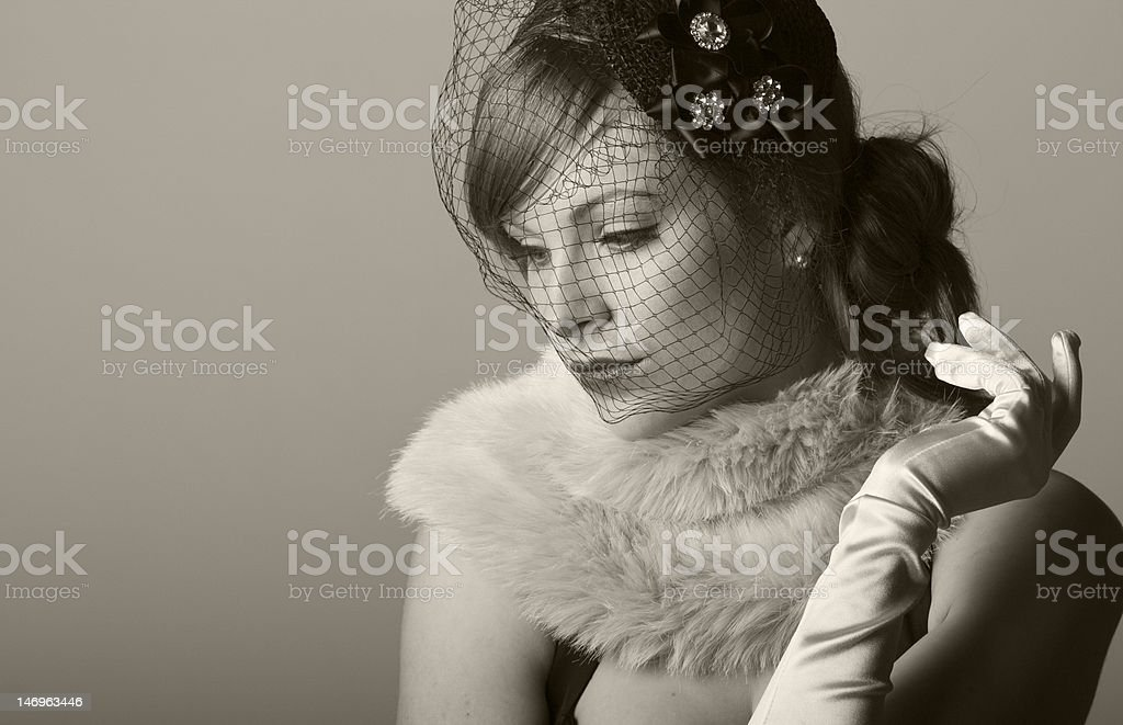 vintage styled 1930s woman royalty-free stock photo