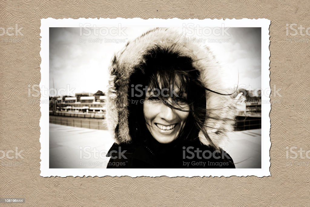 Vintage Styled Picture Frame of Woman in Parka royalty-free stock photo