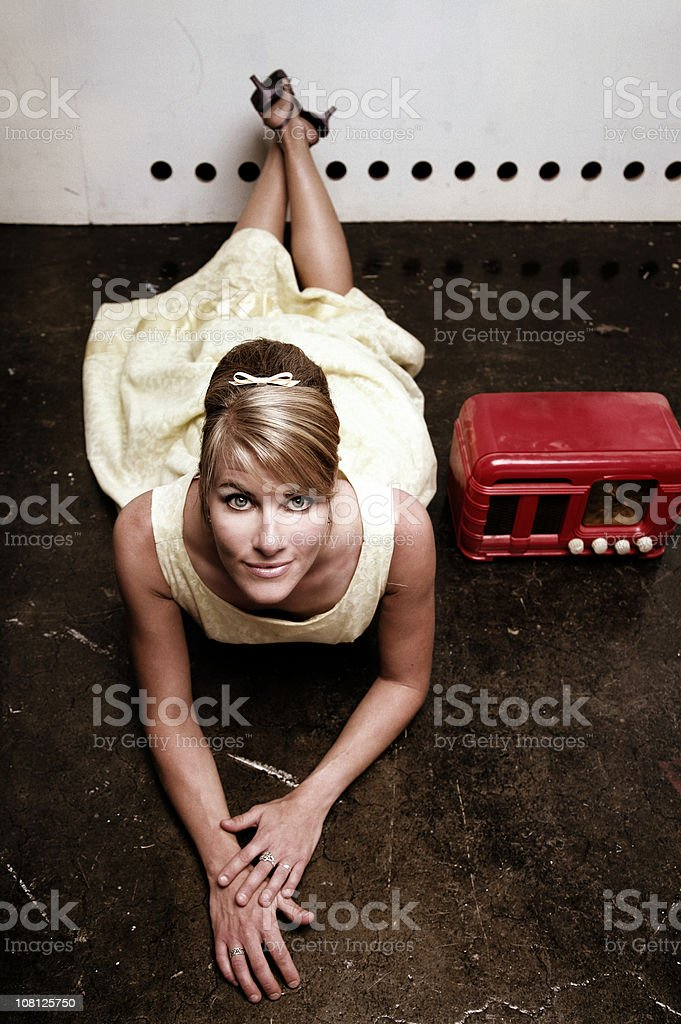 Vintage Styled Woman Wearing Dress royalty-free stock photo