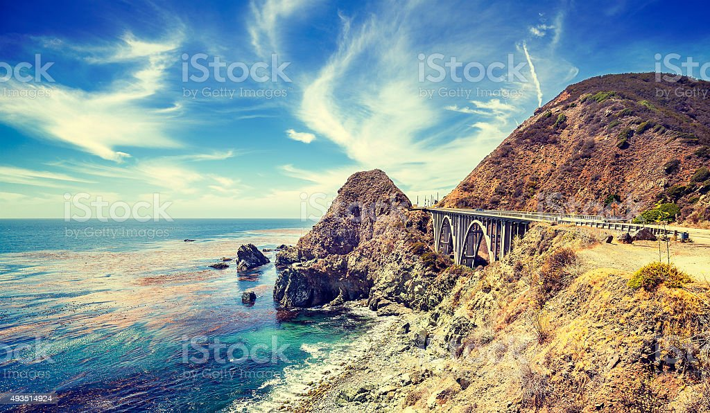 Vintage stylized California coastline. stock photo