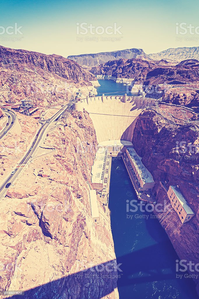 Vintage stylized photo of the Hoover Dam, USA stock photo