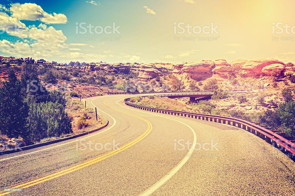 Vintage stylized s shape country road, USA. stock photo