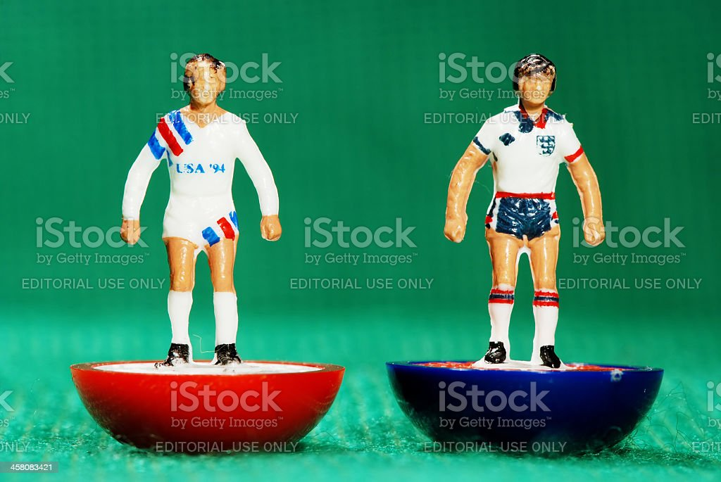 Vintage Subbuteo soccer player miniature toy stock photo