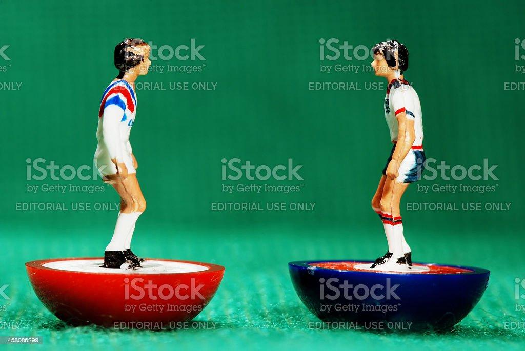 Vintage Subbuteo soccer player miniature toy stock photo