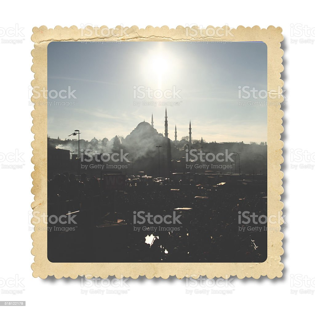 Vintage Suleymaniye Mosque Photo (Clipping Path) stock photo