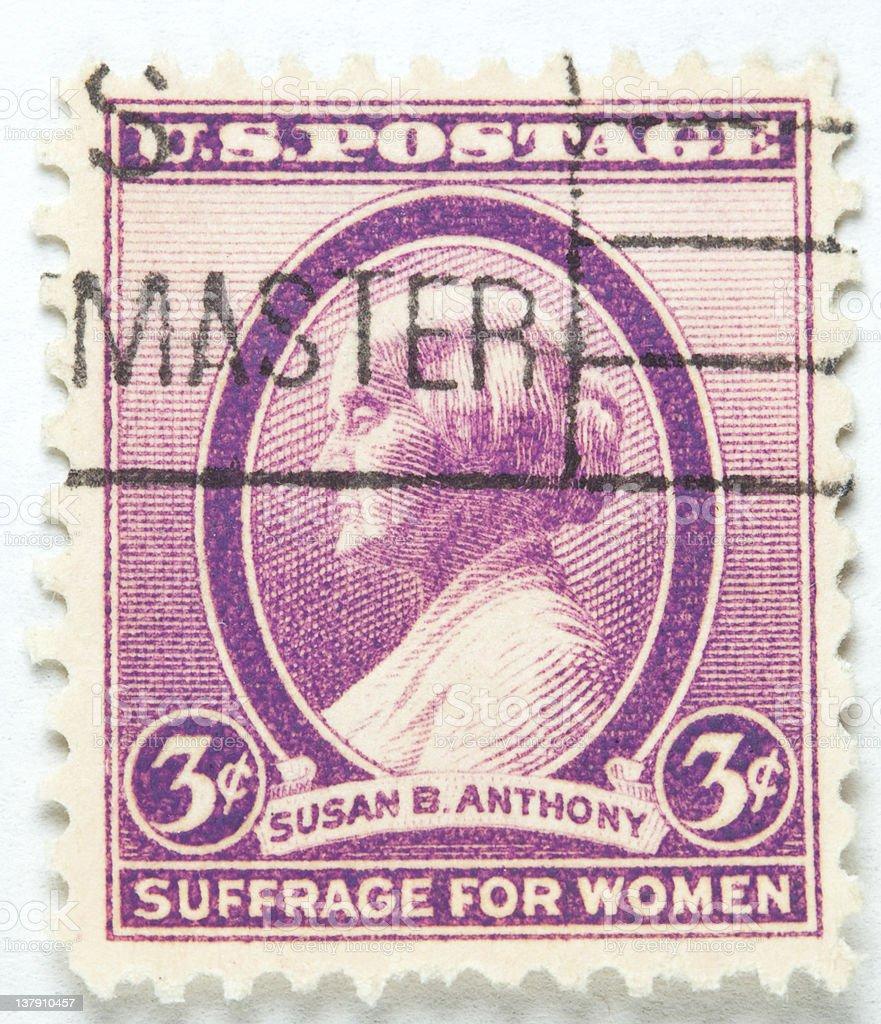 Vintage Susan B Anthony Stamp 1936 stock photo