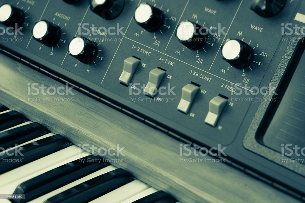 Vintage synthesizer keyboard musical instrument stock photo