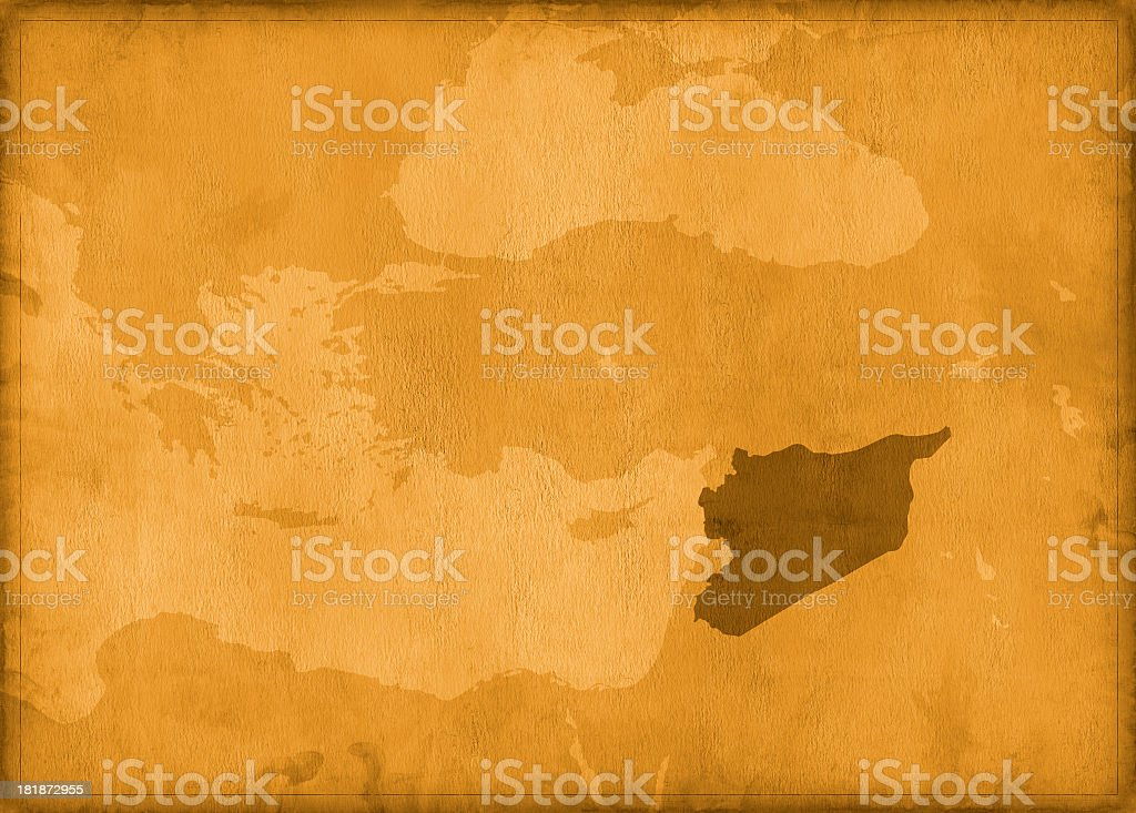 Vintage syria map royalty-free stock photo