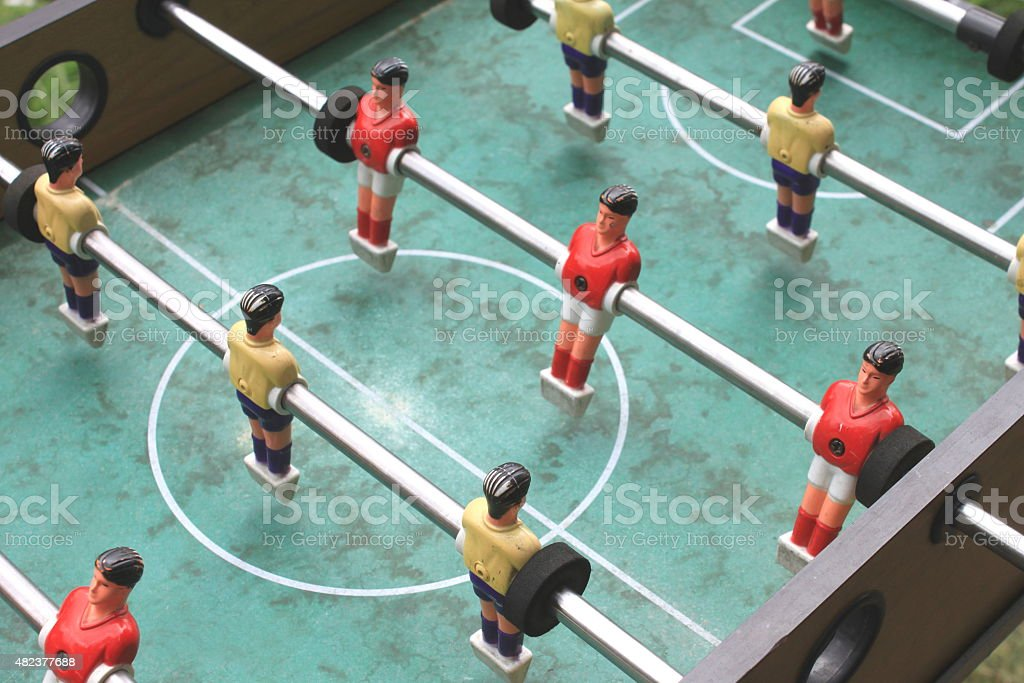 vintage table football closeup, foosball stock photo