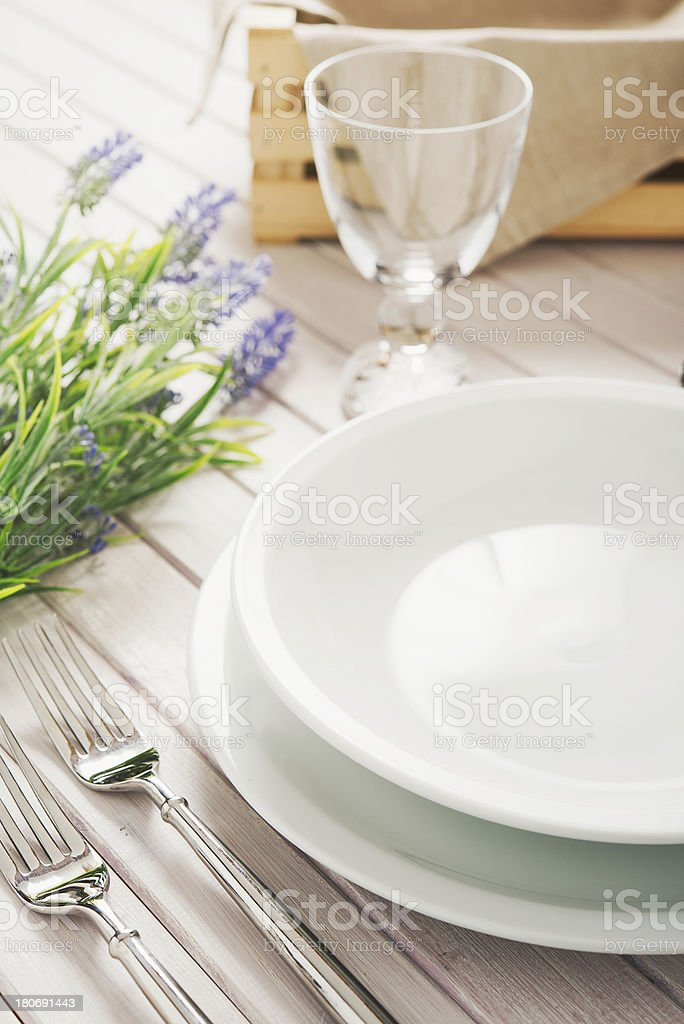 Vintage table setting stock photo