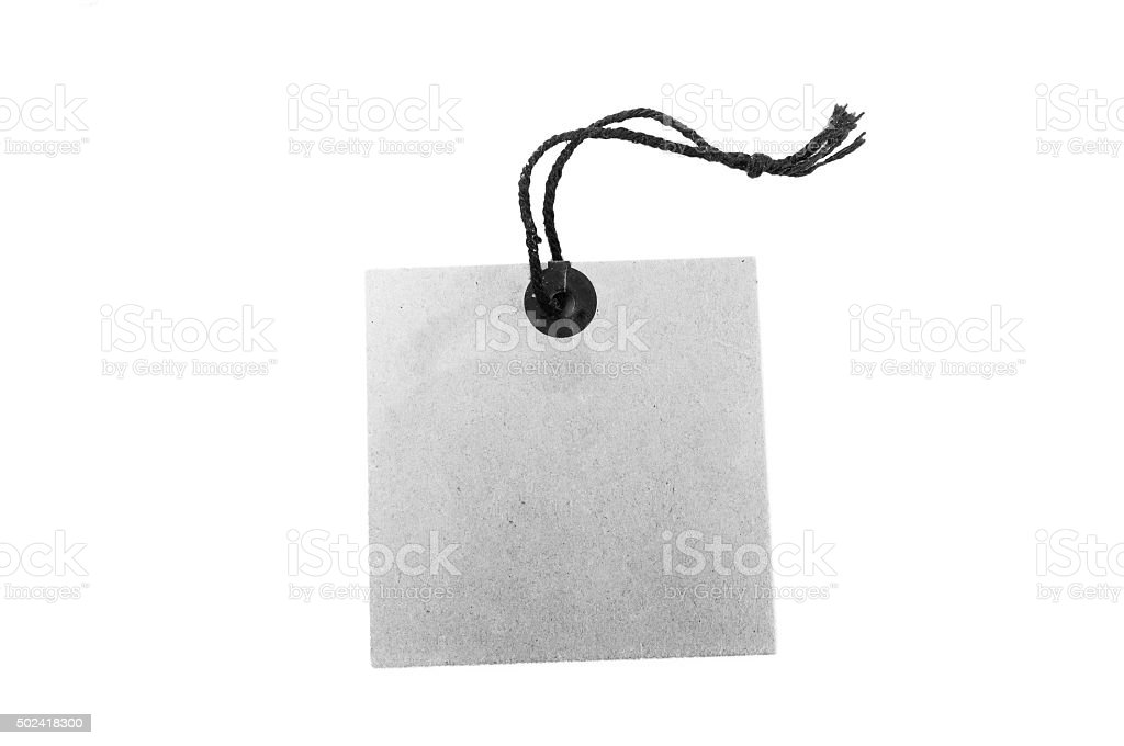 Vintage tag label isolated on white background stock photo