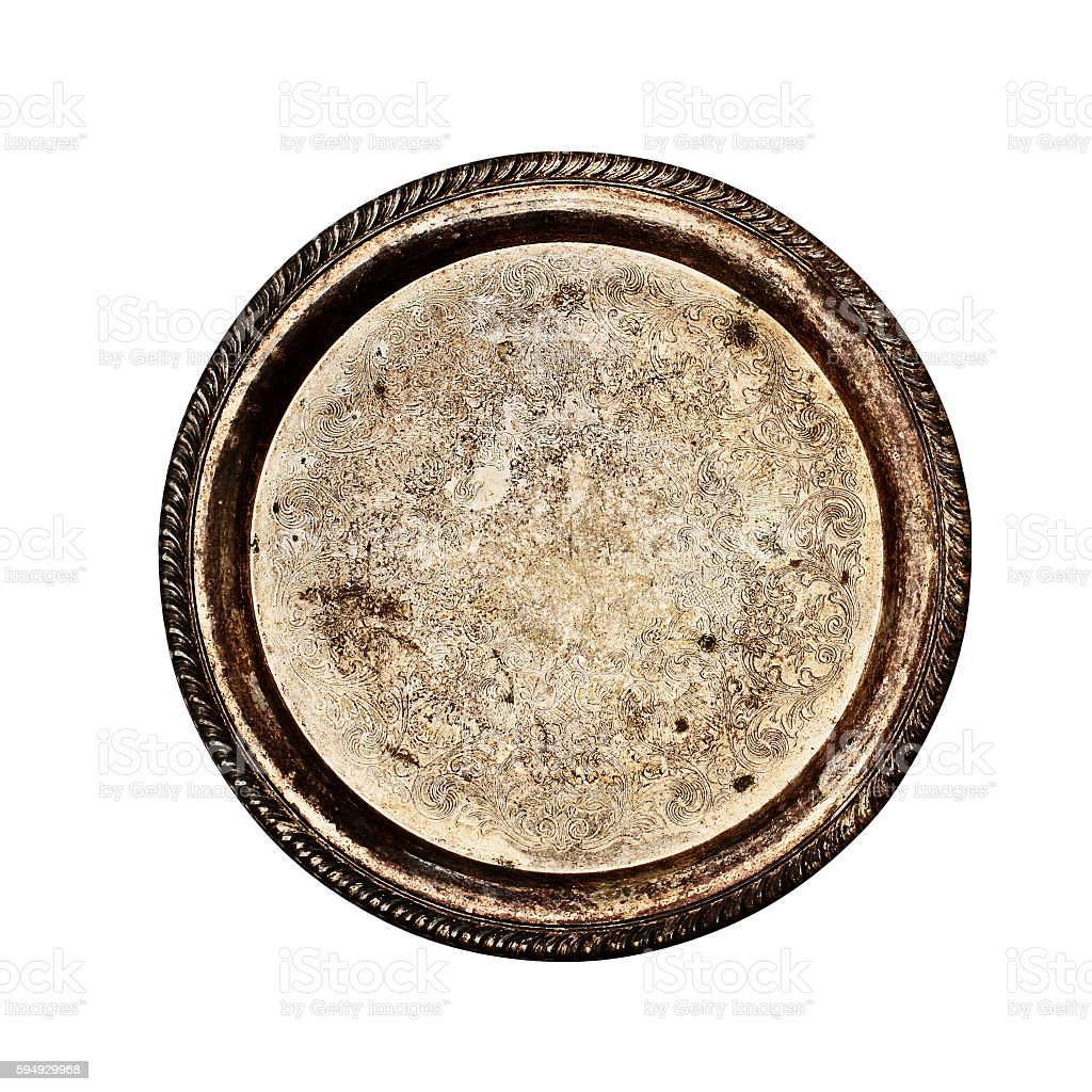 Vintage tarnished silver plate stock photo