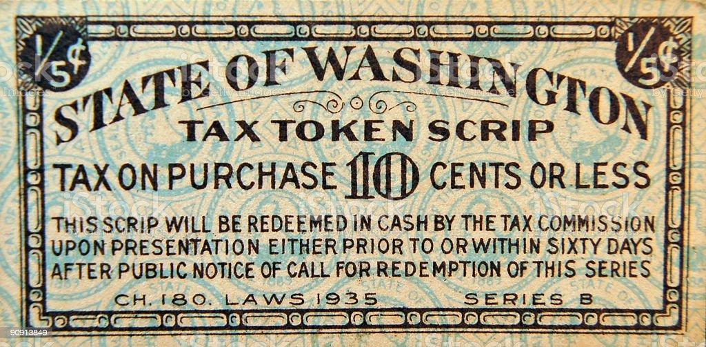 Vintage Tax Token Scrip royalty-free stock photo