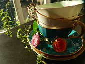 Vintage Tea Cups in A Sunny Kitchen