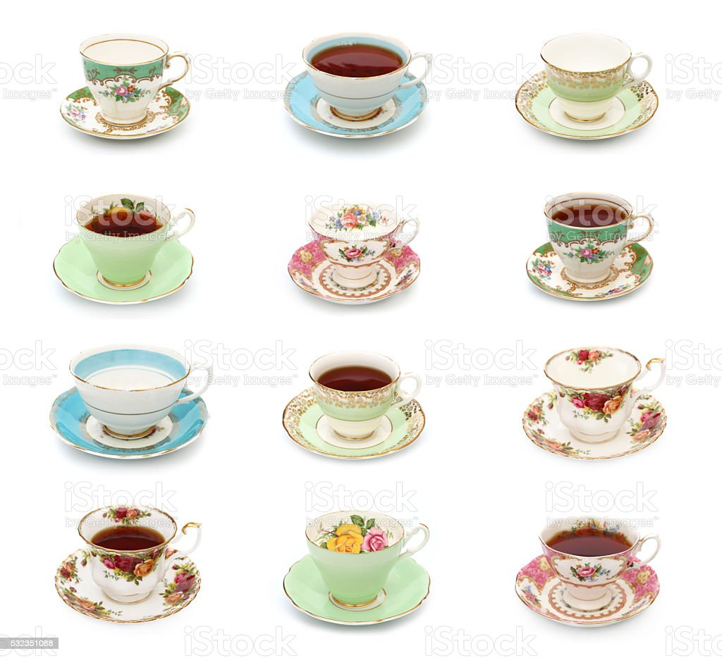Vintage Tea Cups stock photo