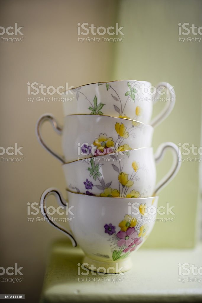Vintage Teacups royalty-free stock photo