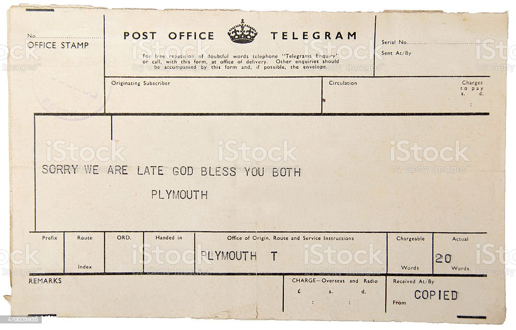 Vintage Telegram stock photo