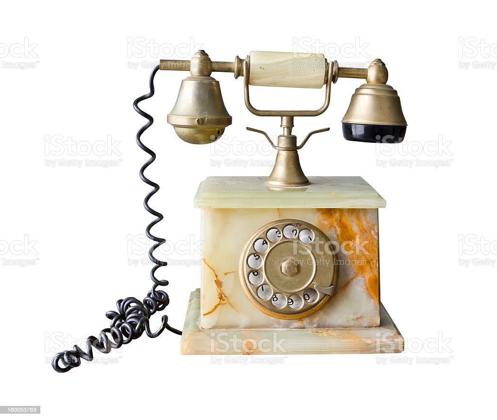 Telefono vintage fatte di marmo isolato foto stock royalty-free