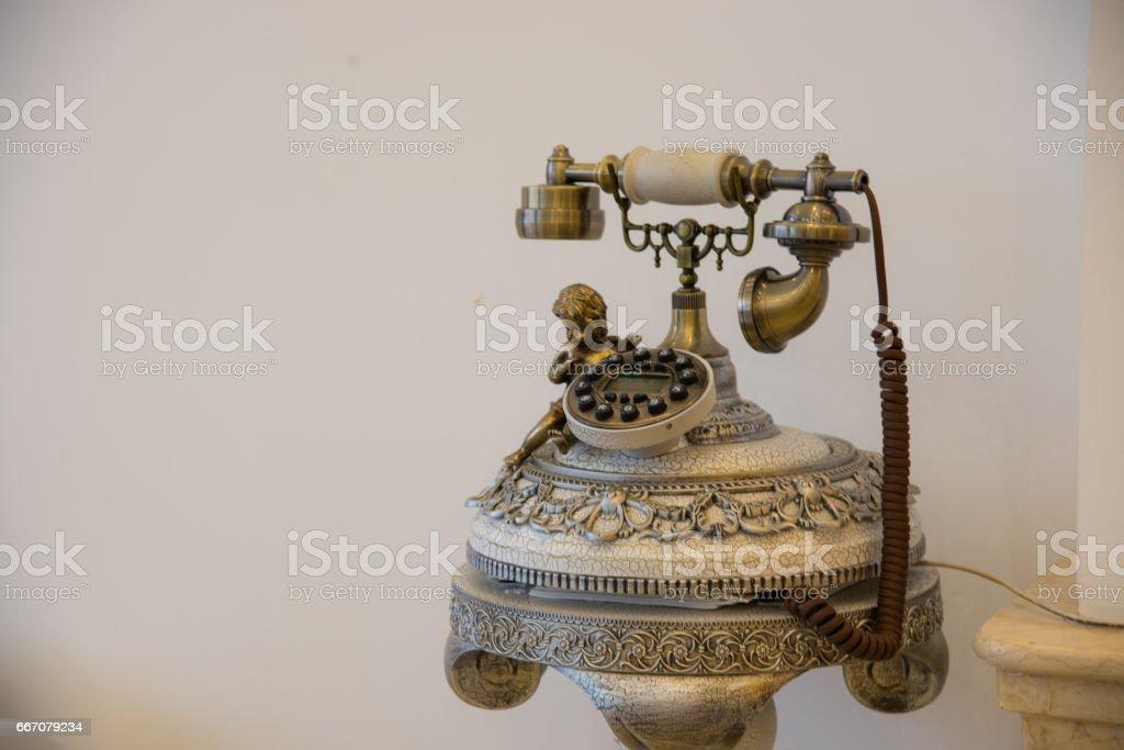 Vintage telephone style stock photo