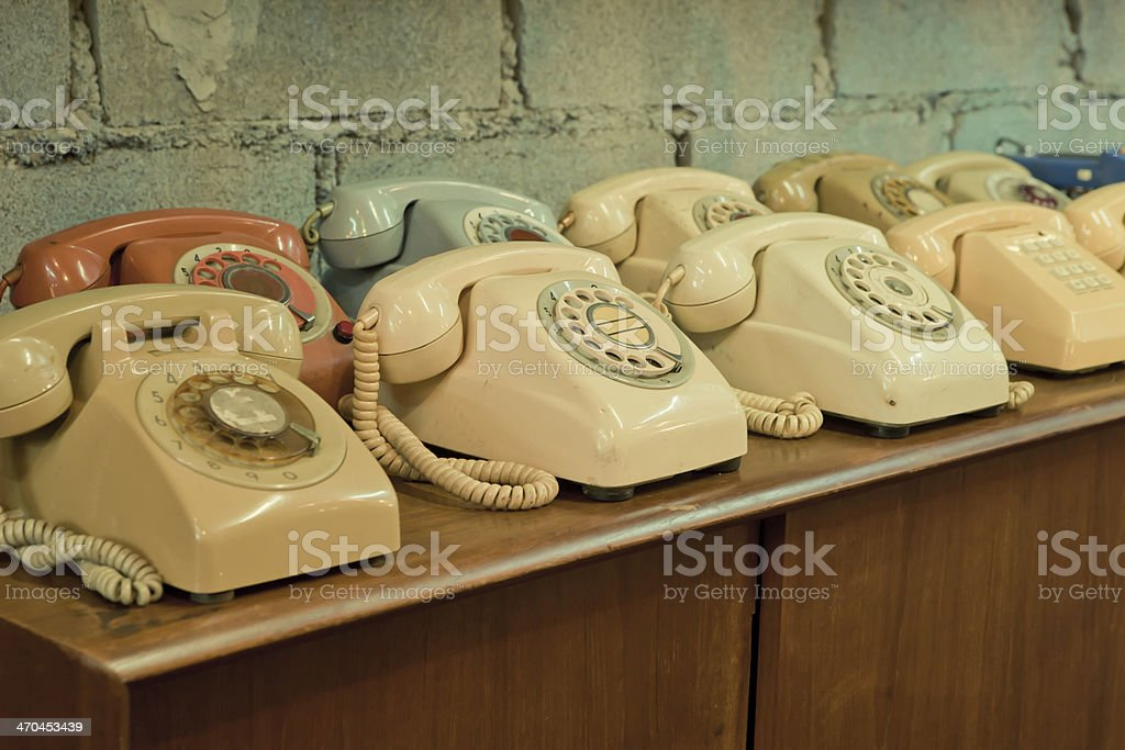vintage telephones on the table stock photo