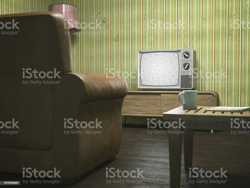 Vintage Television in Retro Living Room stock photo