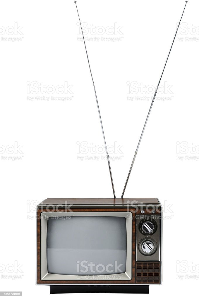 Vintage Television With Antenna stock photo