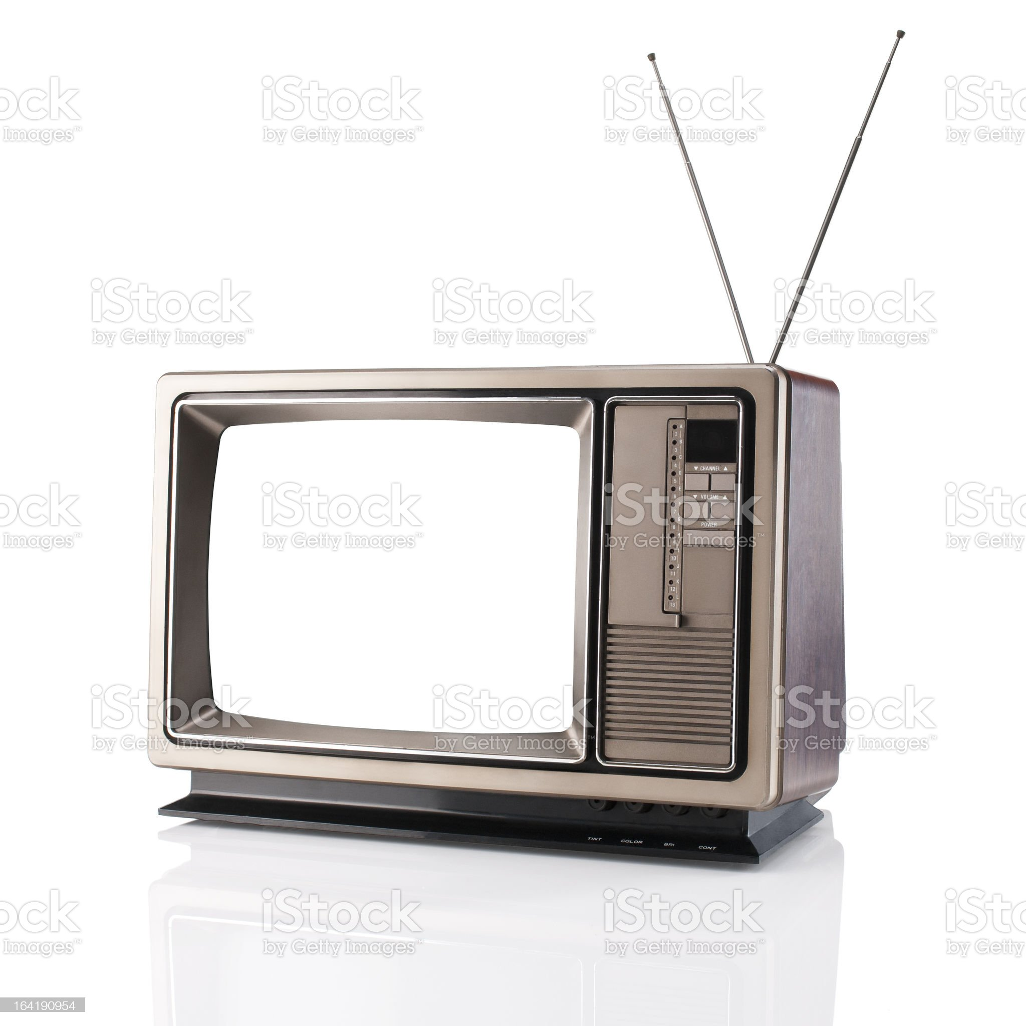 Vintage Television With Clipping Path royalty-free stock photo