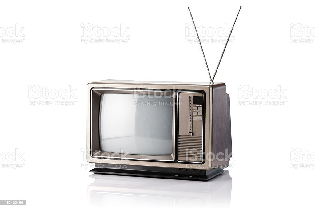 Vintage Television With Clipping Path stock photo