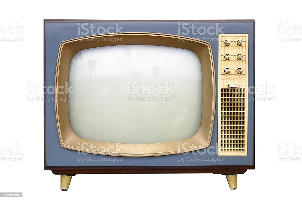 A vintage television with gold frame stock photo