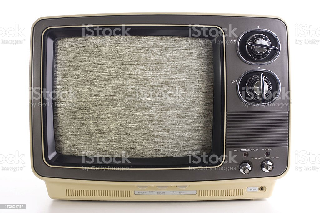 Vintage television with noise royalty-free stock photo