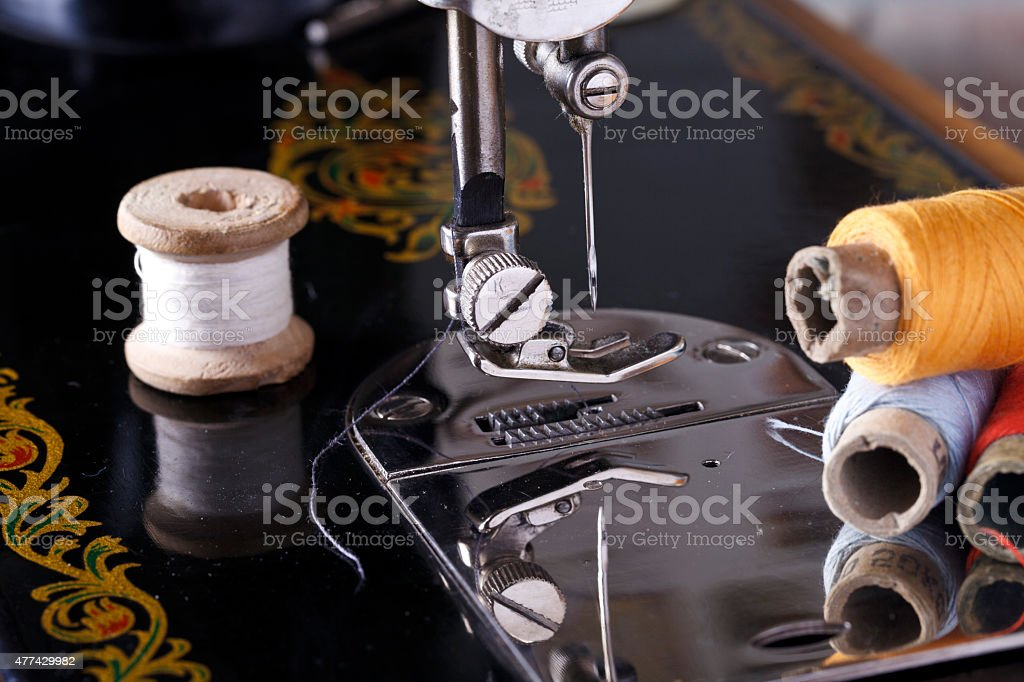 vintage the sewing machine stock photo