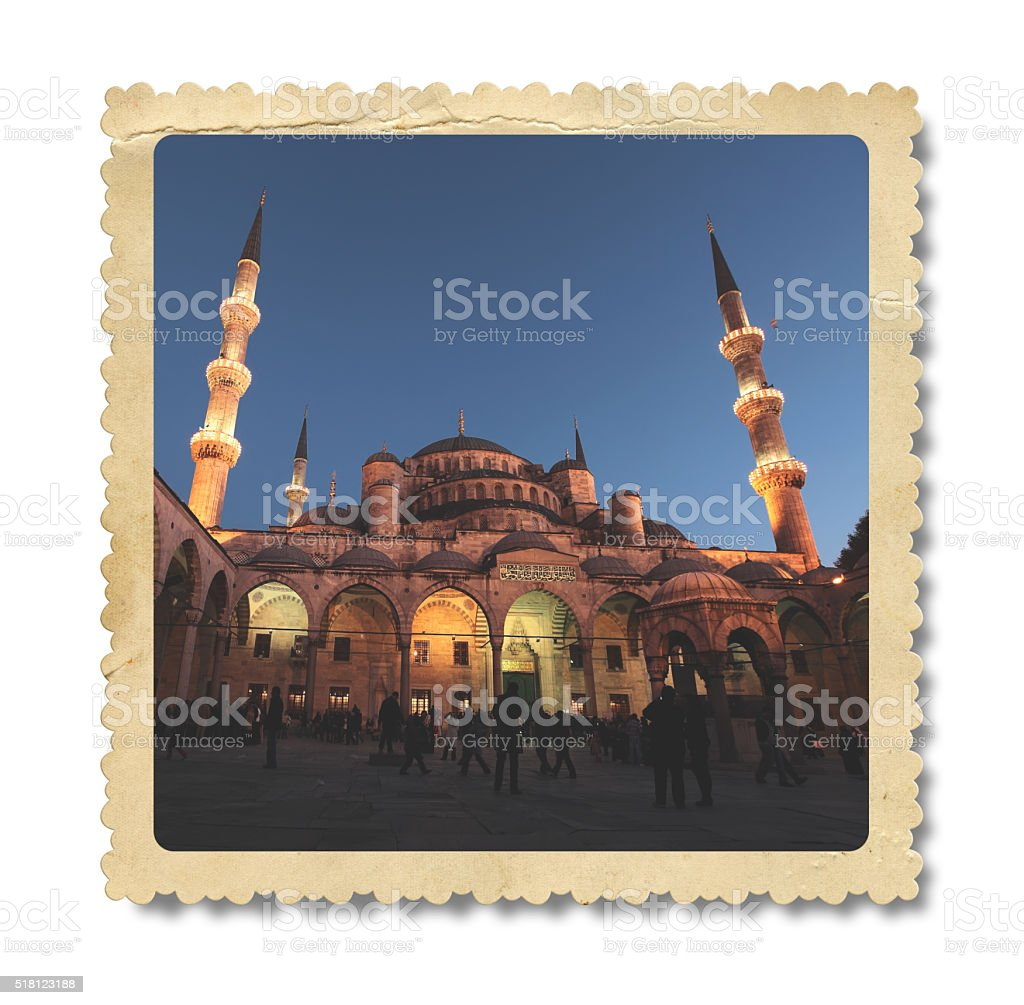 Vintage The Suleymaniye Mosque Photo (Clipping Path) stock photo