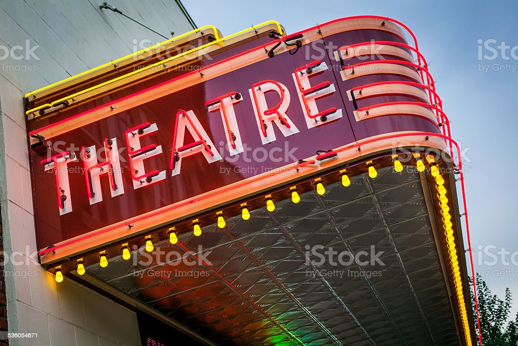 Vintage Theatre Sign stock photo