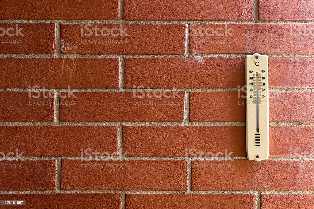 Vintage Thermometer Against Red Brick Wall royalty-free stock photo