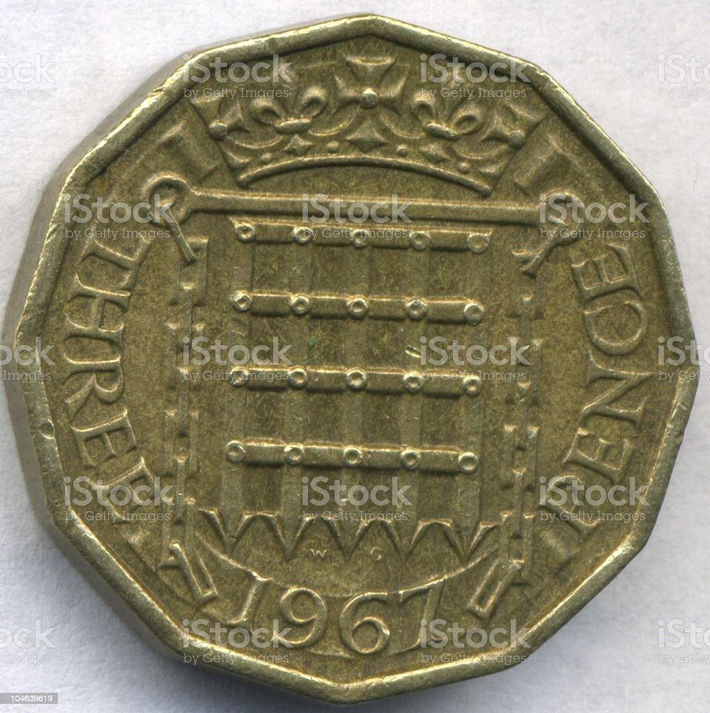 Vintage Three Pence Coin Piece Circa 1967 royalty-free stock photo