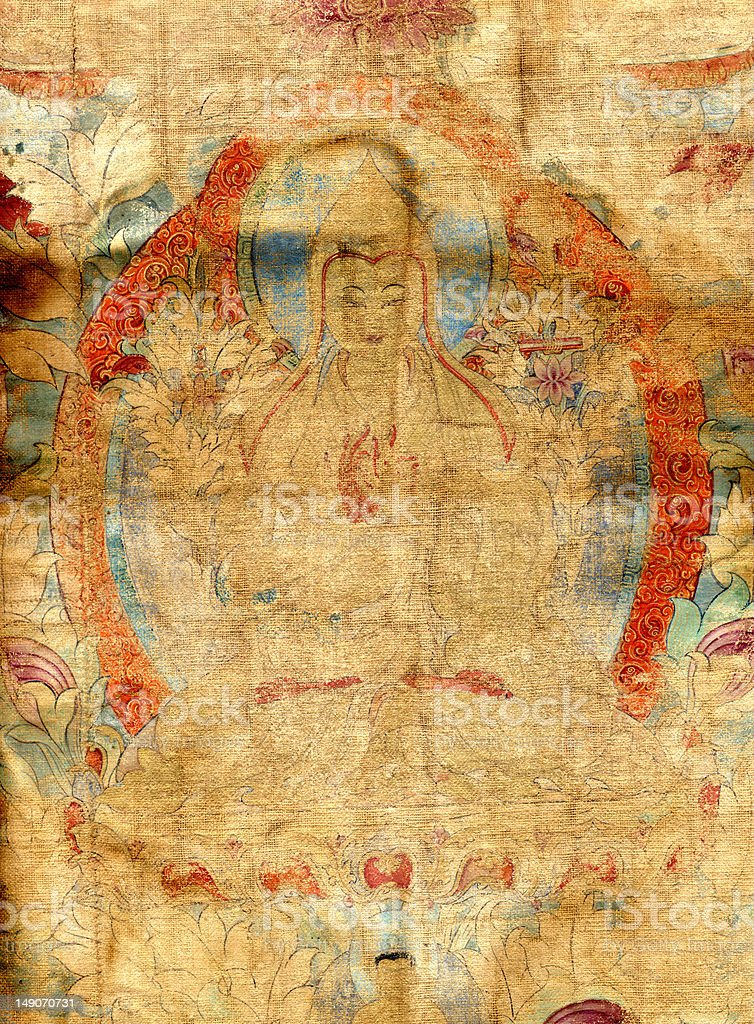 Vintage Tibetan Tangka of Je Tsongkhapa to 16th Century stock photo